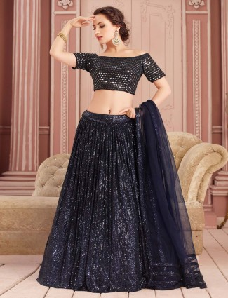 Navy and black party lehenga choli