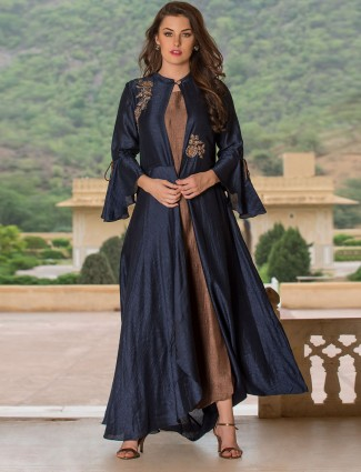 Navy and brown jecket style kurti