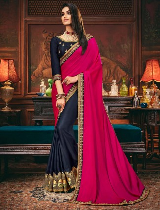 navy and magenta colored half and half saree in satin