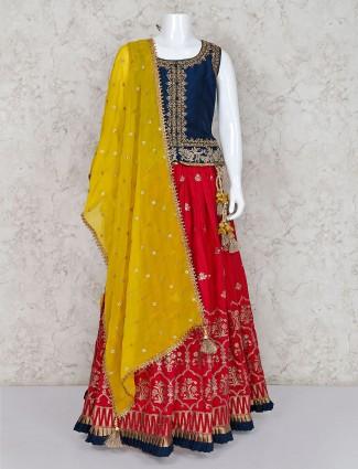 Navy and magenta cotton silk wedding lehenga choli