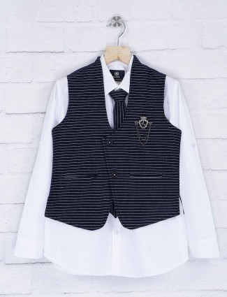 Navy and white color terry rayon waistcoat shirt