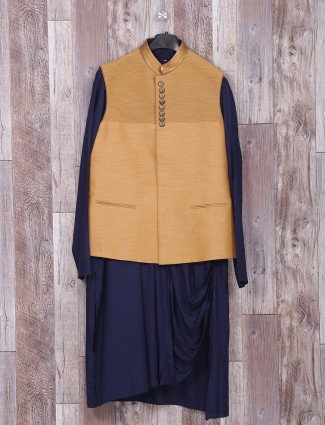 Navy beige silk wedding wear waistcoat set