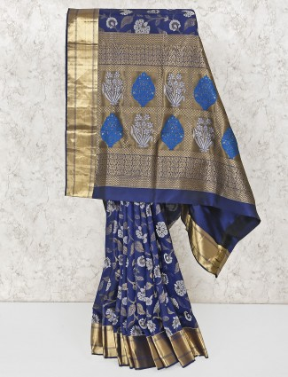 Navy blue amazing south silk saree