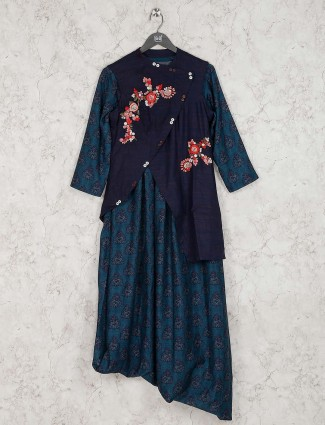 Navy blue and teal green jacket style kurti in cotton