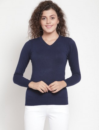 Navy blue casual knitted top with v neckline