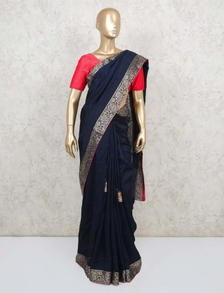 Navy blue dola silk saree for wedding reception