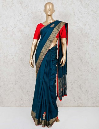 Navy blue festival wear cotton silk saree