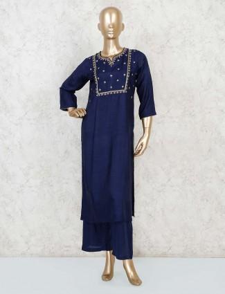 Navy blue festive kurta palazzo set in raw silk