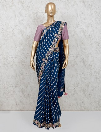 Navy blue festive wear designer dola silk