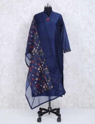 Navy blue festive wear punjabi suit