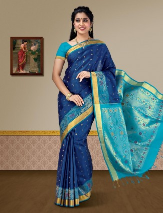 Navy blue kanjivaram saree in pure silk