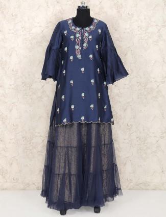 Navy blue net festive lehenga cum salwar suit
