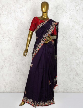 Purple party wear pure silk saree