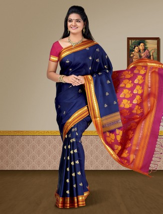 Navy blue pure silk fabric kanjivaram saree