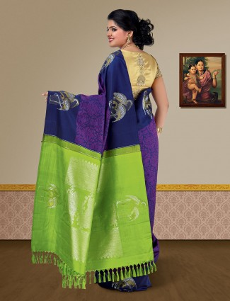 Navy blue pure silk fabric wedding kanjivaram saree