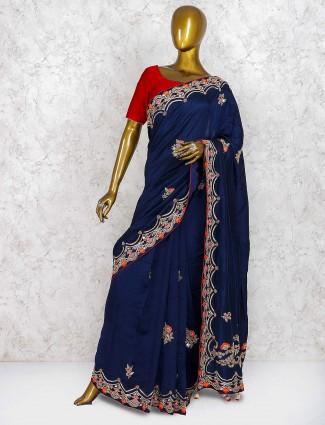 Navy blue pure silk wedding wear saree