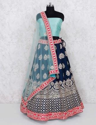 Navy blue raw silk semi stitched lehenga choli