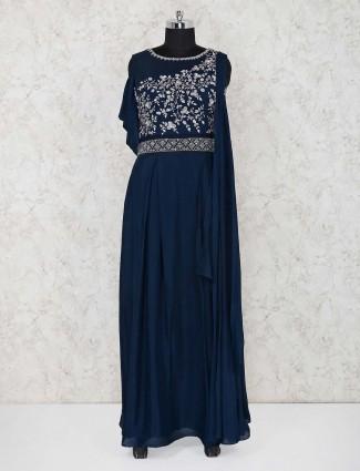 Navy blue satin designer indo western salwar suit