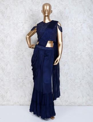 Navy blue satin festive indo western sharara suit