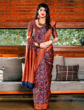 Navy blue silk fabric wedding wear saree