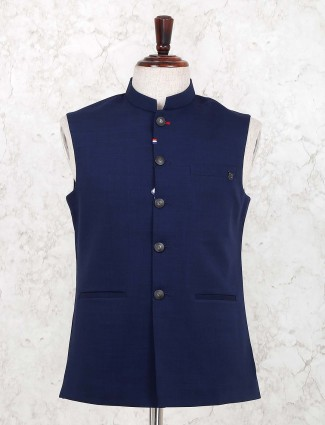 Navy color solid cotton fabric waistcoat