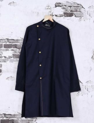 Navy color solid kurta suit
