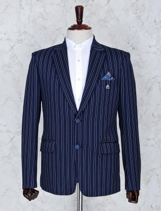 Navy color terry rayon stripe pattern blazer