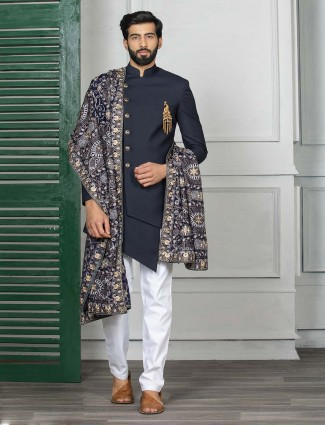 Navy colored designer party wear indo western