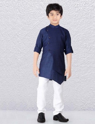 Navy colored solid cotton fabric kurta suit