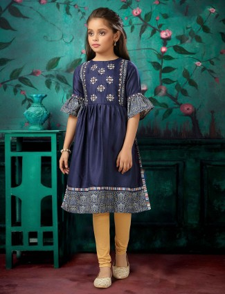 Navy cotton casual wear punjabi suit