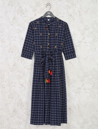 Navy cotton checks latest kurti