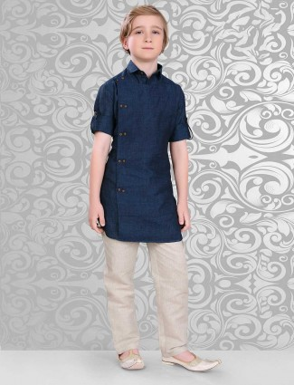 Navy cotton pathani suit for boys