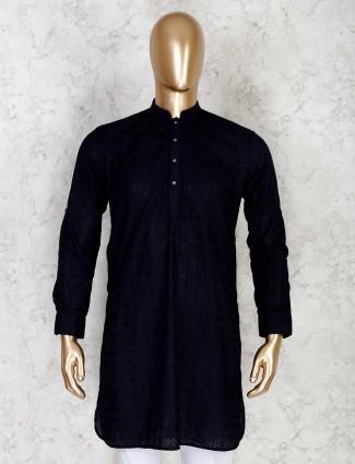 Navy cotton short pathani kurta with chikan thread work