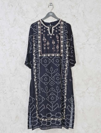 Navy cotton silk casual wear kurti