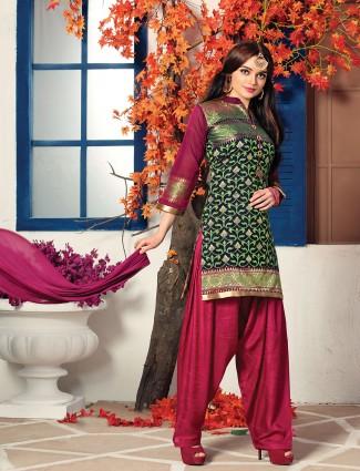 Navy cotton silk fabric salwar suit