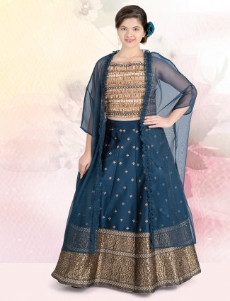 Navy cotton silk jacket style lehenga suit