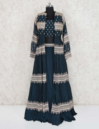 Navy cotton silk party wear designer indo western lehenga suit