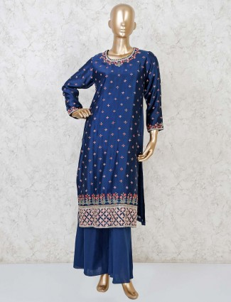 Navy cotton silk punjabi palazzo suit for party