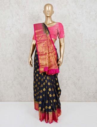 Navy cotton silk zari weaving saree