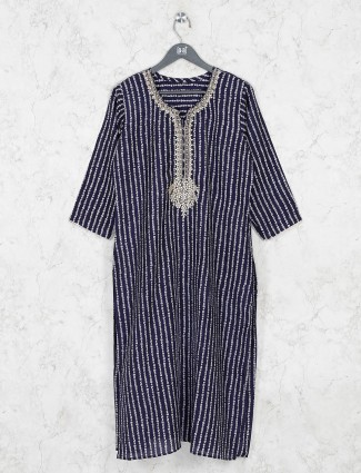 Navy cotton stripe design kurti tunic