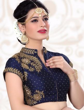 Navy designer ready made raw silk blouse