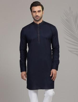 Navy full sleeves kurta in cotton