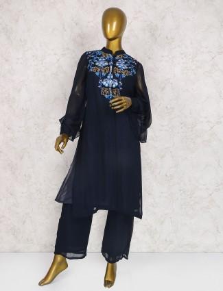 Navy georgette festive wear salwar suit