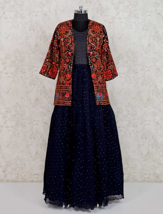 Navy georgette jacket style anarkali suit