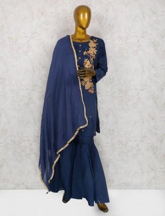Navy hue cotton silk sharara suit