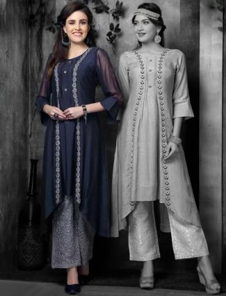 Navy hue designer kurti in cotton silk