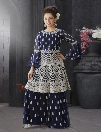 Navy hue designer party function sharara suit