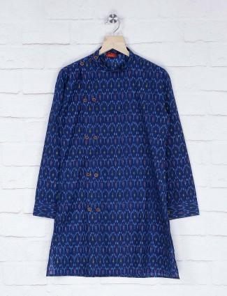 Navy hue printed pattern kurta suit