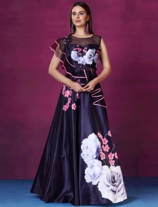 Navy hue printed silk floor length gown
