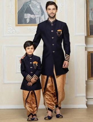 Navy hue raw silk fabric father son indo western